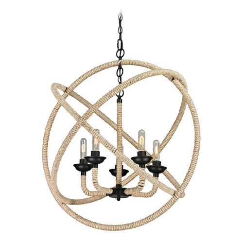 Elk Lighting Pendant Light in Matte Black Finish 15902/5