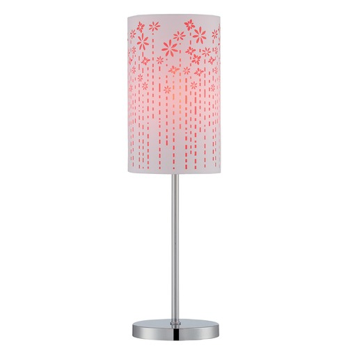 Lite Source Lighting Lite Source Lighting Poppy Chrome Table Lamp with Cylindrical Shade LS-22720RED