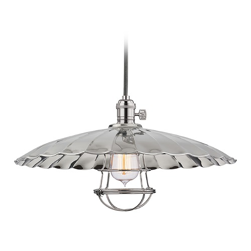 Hudson Valley Lighting Hudson Valley Lighting Heirloom Polished Nickel Pendant Light with Scalloped Shade 8002-PN-ML3-WG