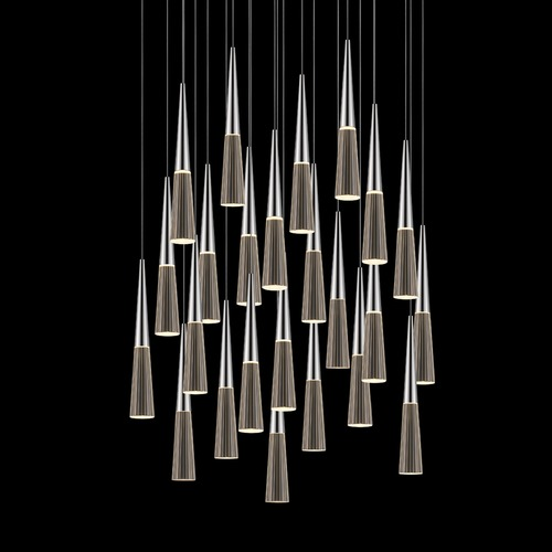Sonneman Lighting Sonneman Spire Polished Chrome LED Multi-Light Pendant with Conical Shade 2946.01