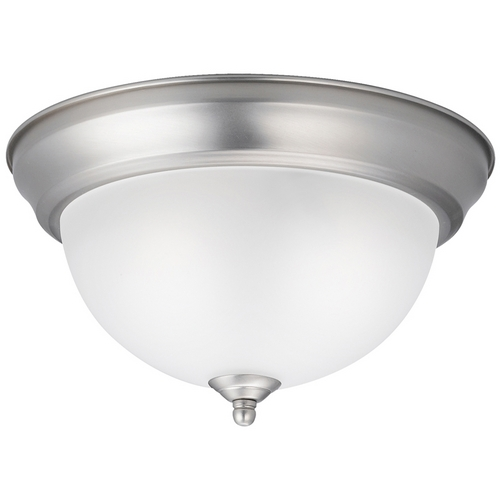Kichler Lighting Kichler Modern Brushed Nickel Flushmount Light with White Glass 8111NI