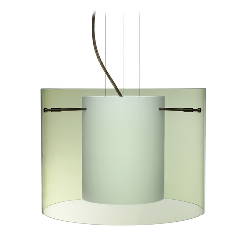 Besa Lighting Modern Pendant Light with Green Glass in Bronze Finish 1KG-L00707-BR