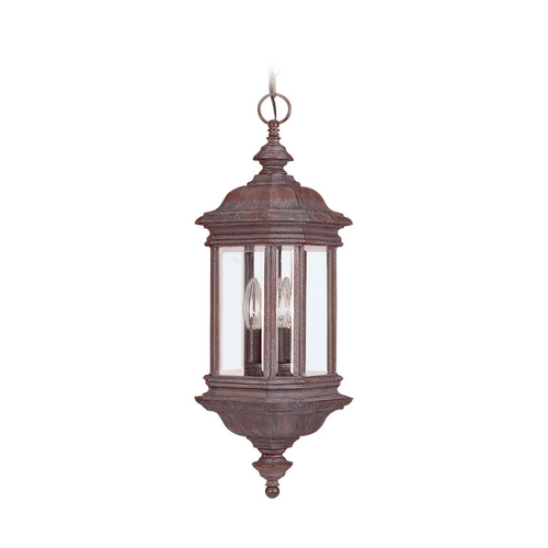 Sea Gull Lighting Outdoor Hanging Light with Clear Glass in Textured Rust Patina Finish 6637-08