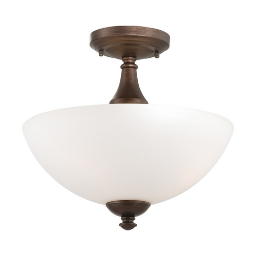 Nuvo Lighting Semi-Flushmount Light with White Glass in Prairie Bronze Finish 60/5144