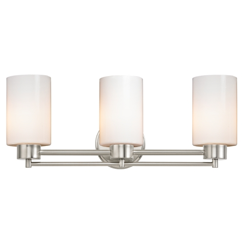 Design Classics Lighting Modern Bathroom Light with White Glass in Satin Nickel Finish 703-09 GL1024C