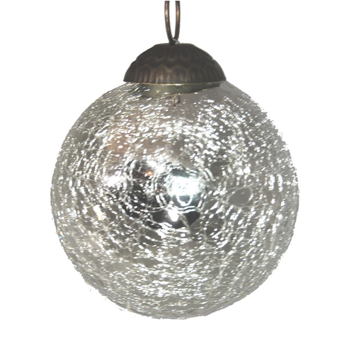 Culturas Trading Company Silver Crackle Ball Tree Ornament - 3-Inches Wide J15S