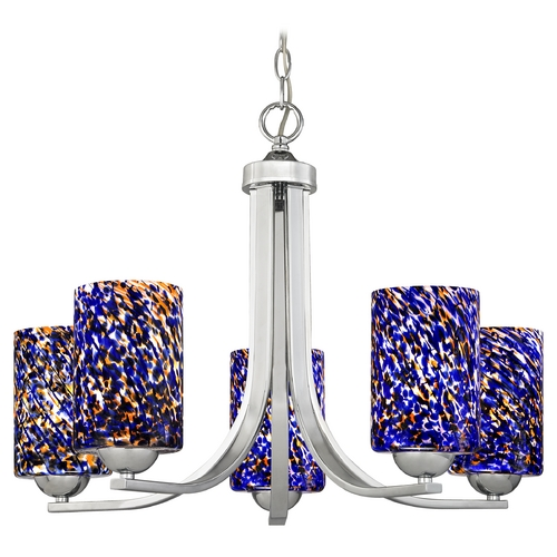 Design Classics Lighting Modern Chandelier in Polished Chrome Finish 584-26 GL1009C