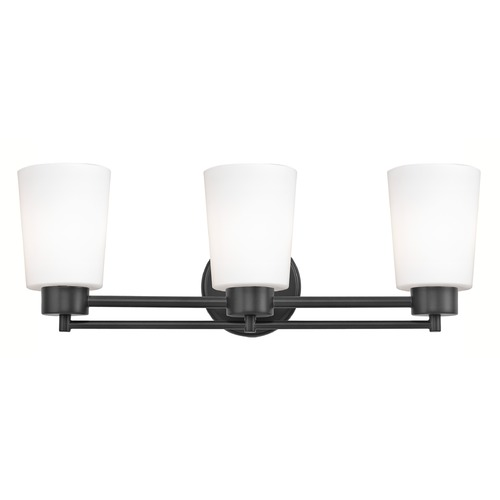 Design Classics Lighting Modern Bathroom Light White Glass Black 3 Lt 703-07 GL1027