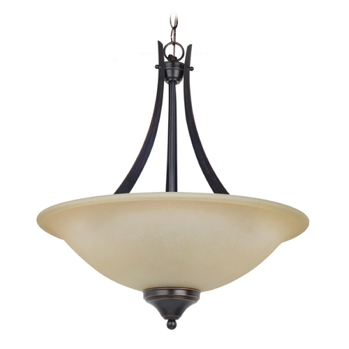 Sea Gull Lighting Pendant Light with Amber Glass in Burnt Sienna Finish 65175BLE-710
