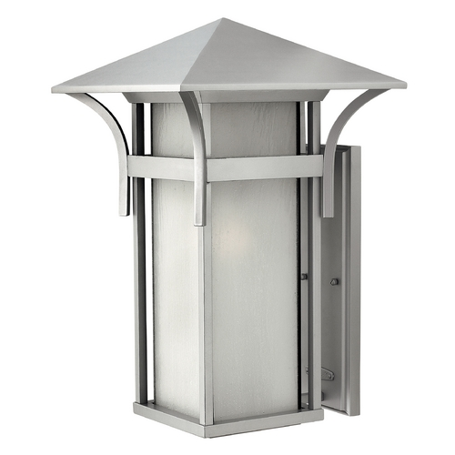 Hinkley Lighting Outdoor Wall Light with White Glass in Titanium Finish 2579TT-GU24