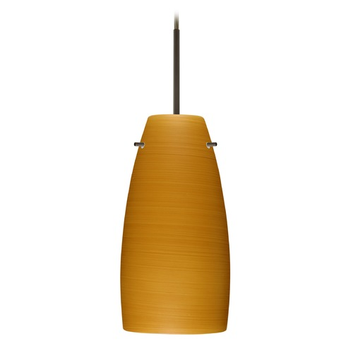 Besa Lighting Besa Lighting Tao Bronze LED Mini-Pendant Light with Oblong Shade 1JT-1512OK-LED-BR