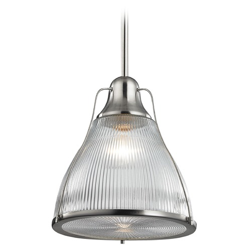 Elk Lighting Elk Lighting Halophane Brushed Nickel Pendant Light with Bowl / Dome Shade 17245/1