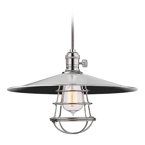 Hudson Valley Lighting Hudson Valley Lighting Heirloom Polished Nickel Pendant Light with Coolie Shade 8002-PN-MM1-WG