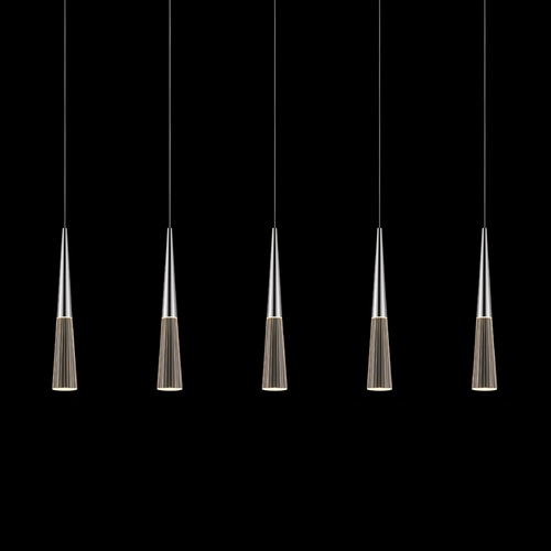 Sonneman Lighting Sonneman Spire Polished Chrome LED Multi-Light Pendant with Conical Shade 2947.01