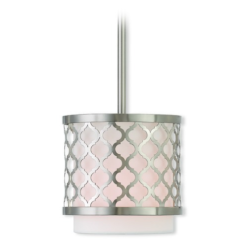 Livex Lighting Livex Lighting Arabesque Brushed Nickel Mini-Pendant Light with Cylindrical Shade 41101-91