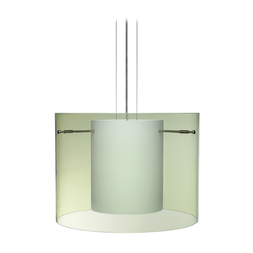 Besa Lighting Modern Pendant Light with Green Glass in Satin Nickel Finish 1KG-L00707-SN
