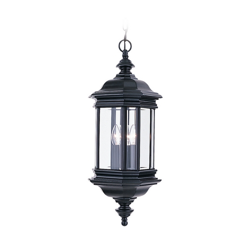 Sea Gull Lighting Outdoor Hanging Light with Clear Glass in Black Finish 6637-12