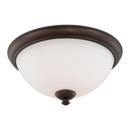 Nuvo Lighting Flushmount Light with White Glass in Prairie Bronze Finish 60/5161