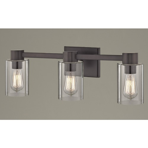 Design Classics Lighting 3-Light Clear Glass Bathroom Light Bronze 2103-220 GL1040C