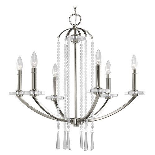 Progress Lighting Progress Crystal Chandelier in Polished Nickel Finish P4139-104
