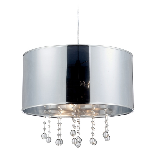 Lite Source Lighting Modern Drum Pendant Light with Silver Shades in Polished Steel Finish LS-19285