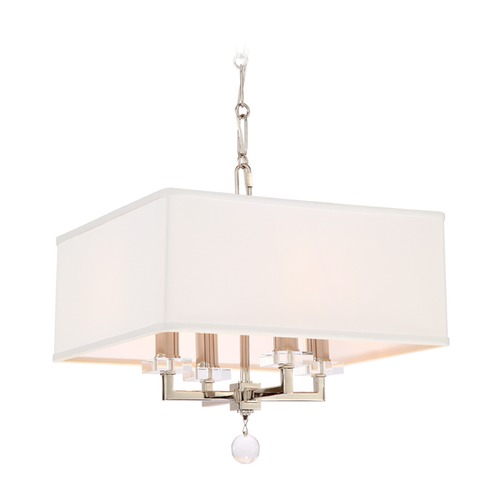 Crystorama Lighting Crystorama Lighting Paxton Polished Nickel Pendant Light with Square Shade 8105-PN