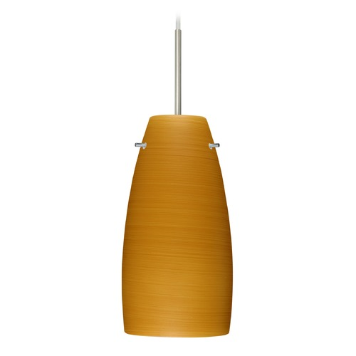 Besa Lighting Besa Lighting Tao Satin Nickel LED Mini-Pendant Light with Oblong Shade 1JT-1512OK-LED-SN