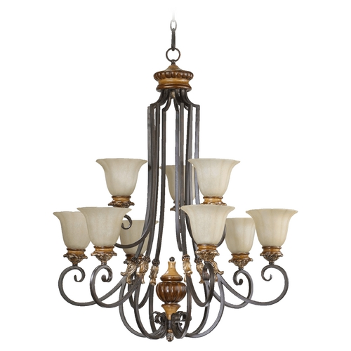 Quorum Lighting Quorum Lighting Capella Toasted Sienna with Golden Fawn Chandelier 6101-9-44