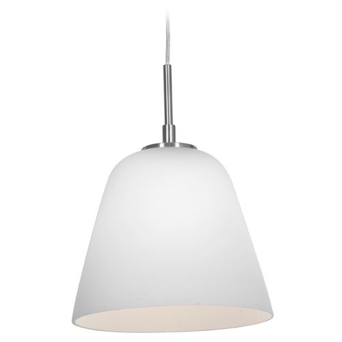 Access Lighting Access Lighting Aire Brushed Steel Mini-Pendant Light with Empire Shade 50169-BS/OPL