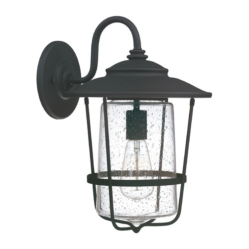 Capital Lighting Seeded Glass Outdoor Wall Light Black Capital Lighting 9602BK