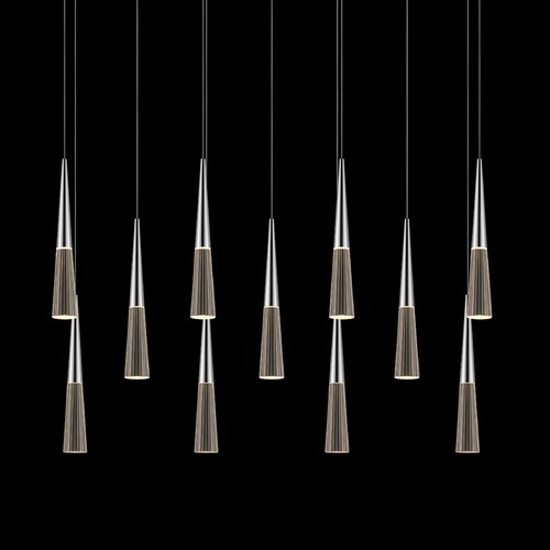 Sonneman Lighting Sonneman Spire Polished Chrome LED Multi-Light Pendant with Conical Shade 2948.01