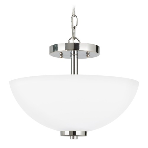 Sea Gull Lighting Sea Gull Lighting Oslo Chrome LED Pendant Light with Bowl / Dome Shade 77160EN3-05