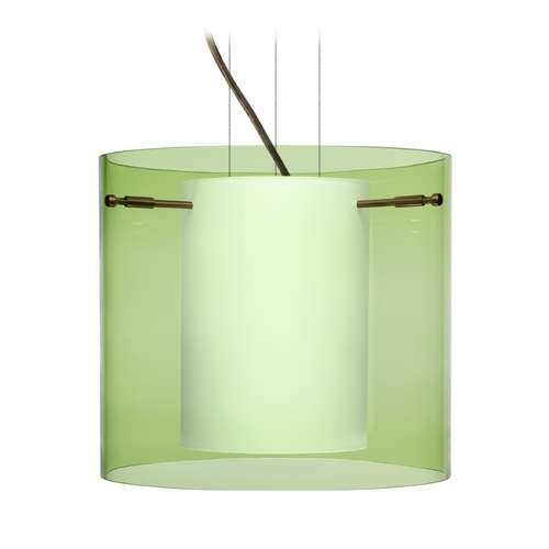 Besa Lighting Modern Pendant Light with Green Glass in Bronze Finish 1KG-L18407-BR