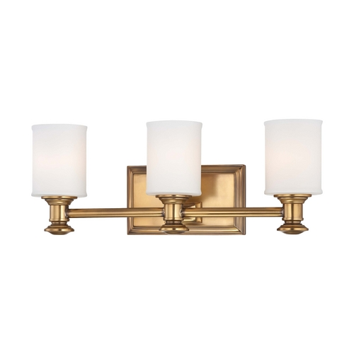 Minka Lavery Bathroom Light with White Glass in Liberty Gold Finish 5173-249