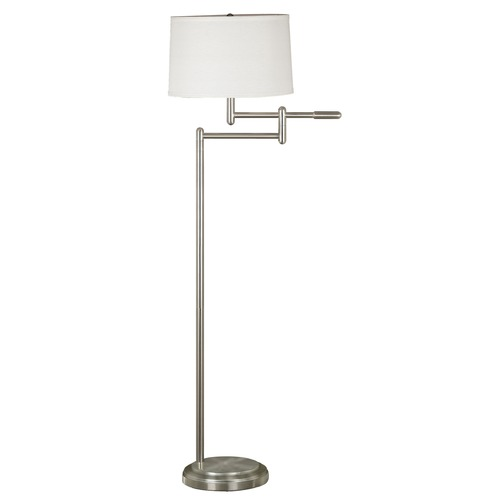 Kenroy Home Lighting Modern Swing Arm Lamp with White Shade in Brushed Steel Finish 20941BS