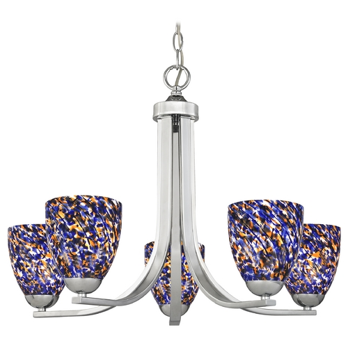 Design Classics Lighting Modern Chandelier in Polished Chrome Finish 584-26 GL1009MB