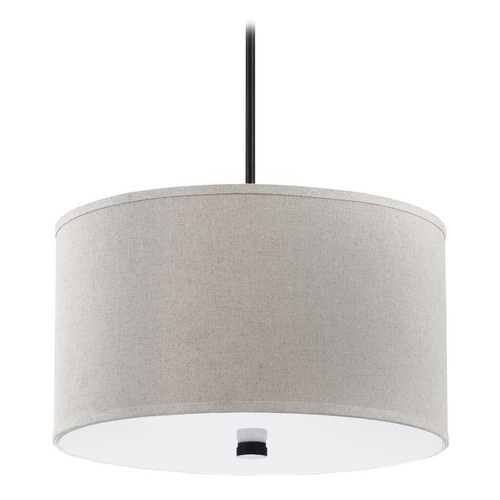 Sea Gull Lighting Modern Drum Pendant Light with Beige / Cream Shades in Burnt Sienna Finish 65263-710