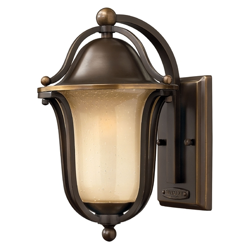 Hinkley Lighting Outdoor Wall Light with Amber Glass in Olde Bronze Finish 2630OB-GU24