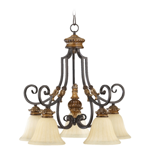 Quorum Lighting Quorum Lighting Capella Toasted Sienna with Golden Fawn Chandelier 6401-5-44