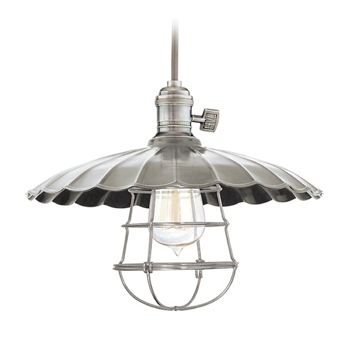 Hudson Valley Lighting Hudson Valley Lighting Heirloom Polished Nickel Pendant Light with Scalloped Shade 8002-PN-MM3-WG