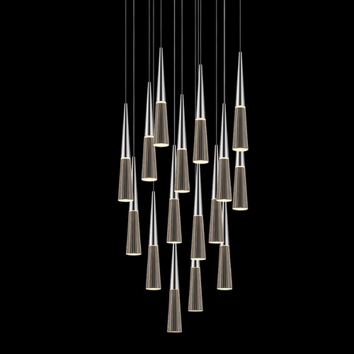 Sonneman Lighting Sonneman Spire Polished Chrome LED Multi-Light Pendant with Conical Shade 2949.01
