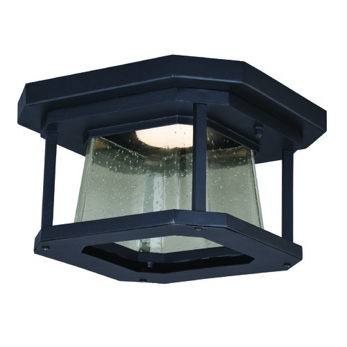 Vaxcel Lighting Seeded Glass LED Outdoor Ceiling Light Black Vaxcel Lighting T0313