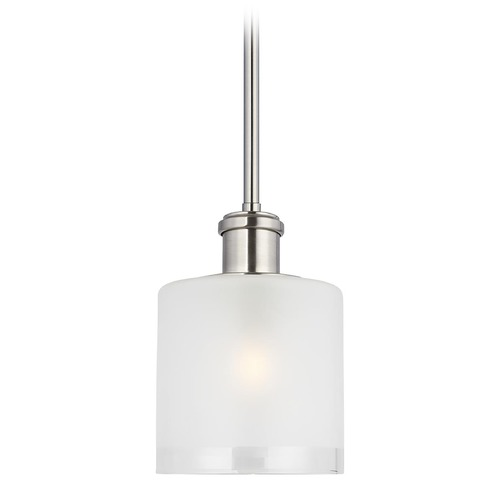 Sea Gull Lighting Sea Gull Lighting Norwood Brushed Nickel Mini-Pendant Light with Cylindrical Shade 6139801-962