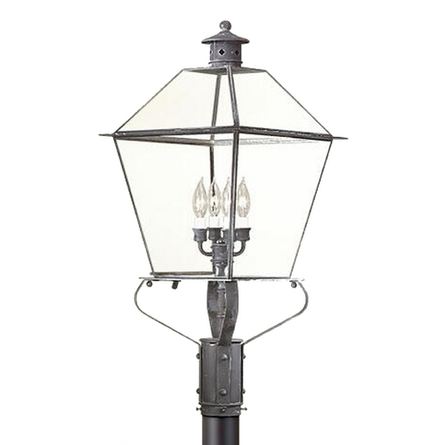 Troy Lighting Post Light with Clear Glass in Charred Iron Finish P9141CI