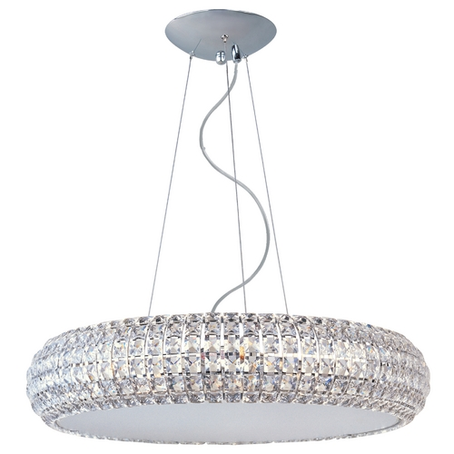 ET2 Lighting Modern Drum Pendant Light with Clear Glass in Polished Chrome Finish E21805-20PC
