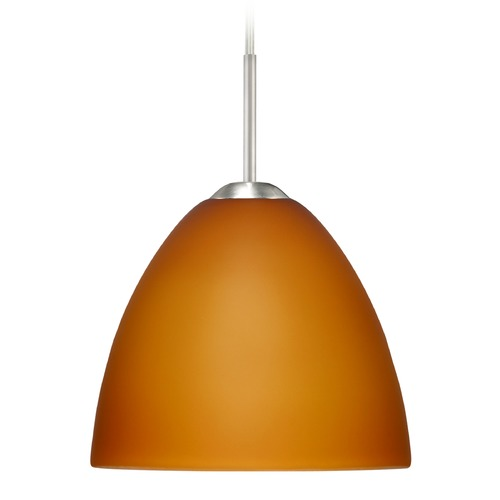 Besa Lighting Besa Lighting Sasha Satin Nickel Mini-Pendant Light with Bowl / Dome Shade 1BT-757280-SN