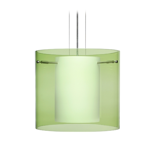 Besa Lighting Modern Pendant Light with Green Glass in Satin Nickel Finish 1KG-L18407-SN