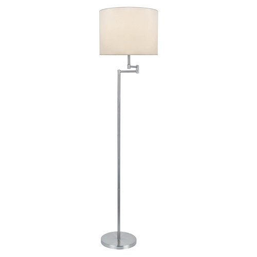 Lite Source Lighting Lite Source Lighting Durango Polished Steel Floor Lamp with Drum Shade LS-82215PS/WHT
