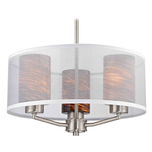 Design Classics Lighting Palatine Fuse Art Glass Satin Nickel Pendant Light with Cylinder Glass 1723-09 GL1023C