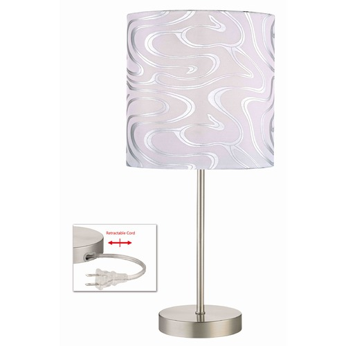 Design Classics Lighting Table Lamp with Silver Patterned Drum Shade 1904-09 SH9495